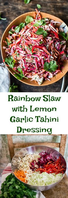 With a little help of a food processor this stunning Rainbow Slaw with Lemon Garlic Tahini Dressing is ready in 10 minutes!