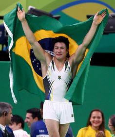 Arthur Mariano of Brazil celebrates winning the bronze medal in the Men's Floor Exercise on Day 9 of the Rio 2016 Olympic Games at the Rio Olympic Arena on August 14, 2016 in Rio de Janeiro, Brazil.