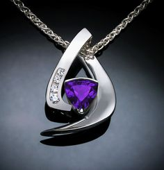 amethyst necklace  white sapphire  February por VerbenaPlaceJewelry