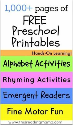 pages of FREE Preschool Printables ~ Hands-On Learning for the Alphabet, Rhyming, Emergent Readers, Fine Motor and MORE! This Reading Mama Preschool Education, Preschool Curriculum, Free Preschool, Preschool Printables, Preschool Lessons, Preschool Kindergarten, Preschool Learning, Preschool Activities, Teaching