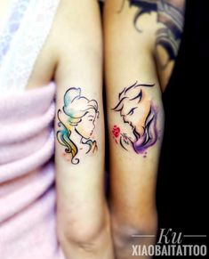 Husband and Wife Tattoo Beauty and the Beast King & Queen Matching Disney Tattoos, Disney Couple Tattoos, Couple Tattoos Love, Couple Tattoos Unique Meaningful, Unique Tattoos, Cute Tattoos, Beautiful Tattoos, Romantic Couples Tattoos, Tattoos Geometric