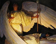 Watcher In the Night by Thomas Blackshear.  My son has grown up with this picture in our house; THIS was how I wanted him to learn to think of his Guardian Angel!