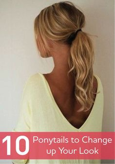 From twists to braids, there are many ways to put your own spin on the curly ponytail! Simple updos to change up your look. I'm just loving the main ponytail pic! My Hairstyle, Pretty Hairstyles, Simple Ponytail Hairstyles, Low Pony Hairstyles, Simple Ponytails, Medium Hairstyles, Hairstyle Ideas, Braided Hairstyles, Curly Hair Ponytail