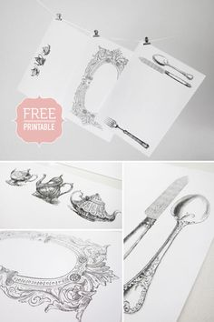 PRINTABLES :: 3 FREE pdf Placemats w/ cutlery, teapots & a pretty acanthus flourish frame. | #theprettyblog #printable