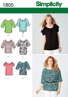 1805 Misses' & Plus Size Knit Tops    Misses & Plus Size pullover knit top in two lengths with sleeve variations in sizes XXS to XXL. Simplicity sewing pattern.