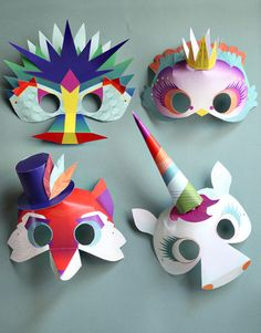 Printable Masks, Paper Dolls, and Haunted Houses DIY Paper Crafts for Kids Diy Paper, Paper Crafts, Printable Masks, Printable Paper, Printables, Dragon Mask, Papier Diy, Crafts For Kids, Arts And Crafts