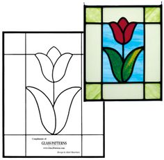 Free Tulip Pattern for stained glass.