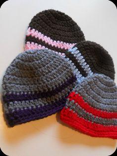 Custom Crochet Striped Basic Beanie $12.50  https://www.etsy.com/listing/115254851/customcrochet-basic-striped