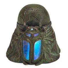 """TIFFANY STUDIOS. Rare scarab inkwell, New York, 1900s; Patinated bronze, Favrile glass, clear glass; Stamped TIFFANY STUDIOS NEW YORK 1501; 2 1/4"""" x 3 1/2"""""""