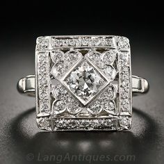 Square Art Deco Diamond Cocktail Ring Circa 1930s