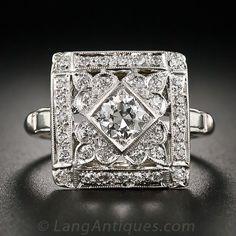 Square Art Deco Diamond Cocktail Ring $3,950.00