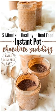 5 Minute HealthyInstant Pot Chocolate Pudding is protein packed, rich and super chocolaty. It makes a fun snack orspecial treat and it's perfect to pack in lunches. It's Paleo friendly with a dairy free option and full of a metabolism and gut supporting boost.  Recipes to Nourish // Gluten Free   Instant Pot Recipes   Dessert   Healthy Dessert   Healthy Snacks   School Snacks  via @recipes2nourish #instantpot #chocolatepudding #paleo #schoollunches