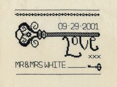Vintage Love Key Cross Stitch chart. Wedding and by StitchKits, £4.99