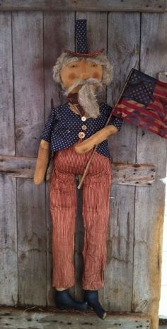 "Primitive Folk ARt Uncle Sam doll 4 ft tall 50"" Large flag Americana  #NaivePrimitive"