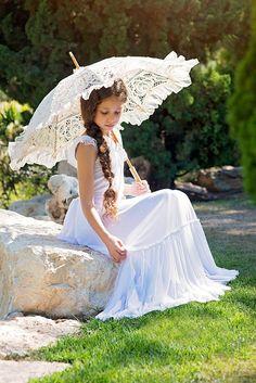 Boho Junior Bridesmaid Dress, Girls Dress, White Lace Flower Girl Dress, First Communion dress, boho