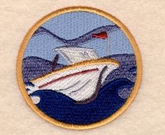 Speedboat in a Porthole - 4x4   What's New   Machine Embroidery Designs   SWAKembroidery.com Starbird Stock Designs
