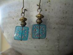 Blue Czech Earrings Czech Glass Earrings, Boho Earrings, Brass Earrings, Dangle Earrings, Geometric Earrings, Small Earrings Drop Earrings