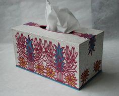 Beige Rasperry Korean Hanji Tissue Box Cover with door HanjiNaty