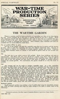 The Wartime Garden | Wartime Canada, 1943 Complete Pamphlet