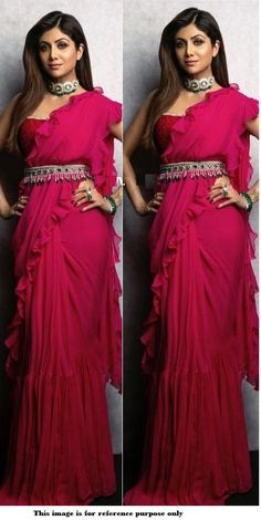 Buy Bollywood Shilpa Shetty Pink Georgette Ruffle sareein UK, USA and Canada WhatsApp us for Purchase & Inquiry : Buy Best Designer Collection from padukon Bollywood Saree, Bollywood Fashion, Saree Fashion, Bollywood Celebrities, Indian Gowns, Indian Sarees, Sari Dress, Saree Blouse, Lace Saree