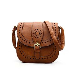 $19 Women Messenger Bag Hollow Out bolsa feminina bolso mujer Leather Shoulder Bag Saddle Crossbody Bags for Women (brown)