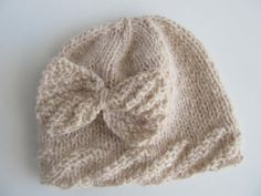 Cream Colored Handknit Wool Hat for Baby or Toddler by SusanDeanne