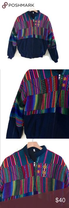 """Vintage Guatemalan ethnic Bomber Jacket Totally awesome vintage Guatemalan patchwork jacket. Beautiful bold colors- zip up front with two pockets. Perfect to add some ethnic flair to your fall wardrobe.  In good vintage condition. Circa 1990s.  NO LABEL - appears handmade 100% cotton fits like womens S/M  M E A S U R E M E N T S are taken with garments laying flat,  across seam to seam....they are NOT doubled.  shoulder to shoulder -19 """" pit to pit -21"""" top to bottom-25"""" Jackets & Coats…"""
