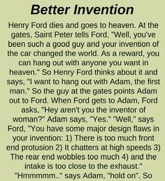 BETTER INVENTION(FUNNY STORY) - Positive Quotes For Life, Motivational Quotes For Life, Inspiring Quotes About Life, Good Jokes, Funny Jokes, Hilarious, Funny Sayings, Ford Think, Latest Jokes