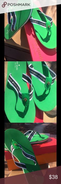 Kate Spade Fable Flip Flop Sandal Lucky Green Whether you're lounging poolside or bargain-hunting on the boardwalk, these comfy flip flop sandals from Kate Spade, done in a crisp, Sporty style are the perfect companion. These are sold out everywhere kate spade Shoes Sandals