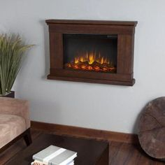 Real Flame Jackson 38 in. Wall-Mount Slim-Line Electric Fireplace in Vintage Black Maple-760E-VBM - The Home Depot
