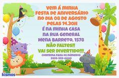 Convite de aniversário festa na floresta grátis para personalizar on-line e imprimir ou enviar on-line. Imagem de um lindo leão, girafa, crocodilo, elefante, hipopótamo e papagaio na selva.