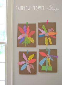 Kids can make these rainbow collage flowers with colored paper, scissors, glue and some cardboard. Great for small motor skills.