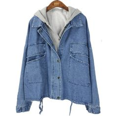 Dark Blue Hooded Batwing Pockets Denim Two Pieces Jacket ($52) ❤ liked on Polyvore