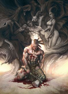 Concept Illustrations by Young-june Choi, fantasy art, spirits, blood, hurt, axe, weapon, nude, women, muscles, masculin, beautiful, beast, creature, cave.