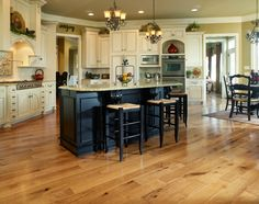 Ideas, Beautiful Homerwood Hickory Saddle In White Bedroom With Black Kitchen Island: Awesome Hickory Wood Floors Ideas