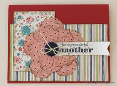 Cards using fabric - layers of die cut fabric flowers (Fun Flowers Bigz die) glued flat.