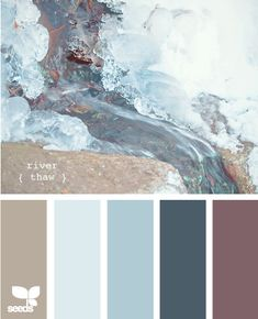 "Nature-made color - ""river thaw"". This combination would be hard to pull off since the contrasting grayish purple is so close to the blues. If successful, it could be a sophisticated palette, maybe for a bedroom."