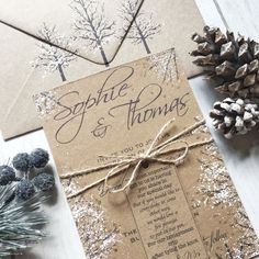 A Rustic Winter Wedding Invitation Suite to add authentic charm and elegance to your wedding. A unique handmade Wedding Invitation with every attention to detail given that makes an elegant Winter or Christmas Wedding! A rustic kraft invite that is b. Winter Wedding Invitations, Handmade Wedding Invitations, Wedding Favor Tags, Wedding Invitation Suite, Wedding Gifts, Nordic Wedding, Boho Wedding, Rustic Wedding, Wedding Ideas