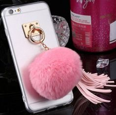 For iphone4s 5s 5c 6/6s Plus 7/7Plus Case Fundas Rabbit Fur Ball Tassels Metal Ring Cases Soft TPU + Hard PC Girly Coque Cover