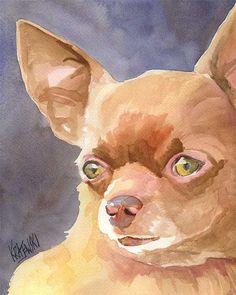 Chihuahua Art Print of Original Watercolor von dogartstudio auf Etsy