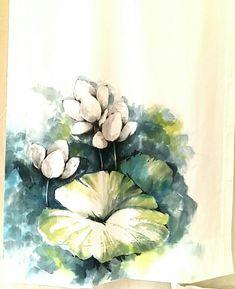 천그림 : 네이버 블로그 Fabric Painting, Fabric Art, Fabric Paint Designs, Blouse Designs, Quilts, Watercolors, Flowers, Pattern, Blog