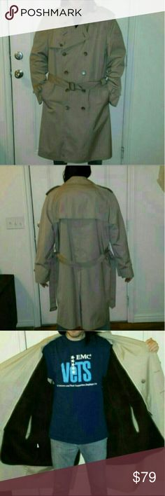 """Men's XL Sz 44 Tan London Fog Trench Men's XL Size 44 London Fog Limited Edition Tan Trench Coat With Zip-Out (Removable) Dark Brown Wool Lining.  Worn MAYBE Once. Basically Brand New Without Tags.  My Model Is 5' 6"""" Tall  Please let me know if you have any questions about this item.  SMOKE & PET FREE HOME London Fog Jackets & Coats Trench Coats"""