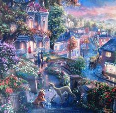 Thomas Kinkade - Disney - Lady and the Tramp