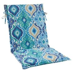 A gorgeous array of blues brings a soothing ambiance to your patio with the Ikat Blue Sling Cushion with Ties. Fade and stain-resistant, the tie strings allow you to easy attach the cushion to a chair for comfort and style. Blue Bedding, Ikat, Cushions, Throw Pillows, Outdoor Pillow, Decks, Ties, Yard, Style