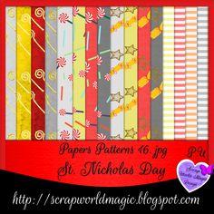 Digital Scrapbooking Freebies, Kit, St Nicholas Day, Pattern Paper, Patterns, Design, Block Prints, Art Designs