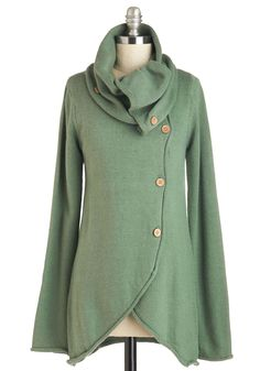 Satisfied Speechwriter Cardigan in Sage. Watch the success of your labor from the stage wings, wrapping up in this sage-green cardigan and smiling at your achievements! #green #modcloth