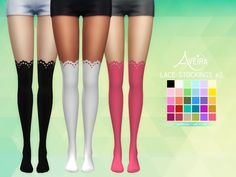 Aveira's Sims 4, Lace Stockings  30 Colors  Standalone & Custom...