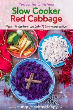 Red cabbage is best cooked low and slow, and whilst you wont get the crispy edges like you would cooking it on the hob, Slow Cooker Red Cabbage, Red Cabbage Recipes, Low Carb Side Dishes, Best Side Dishes, Healthy Side Dishes, Vegetable Side Dishes, Healthy Sides, Vegetable Recipes, Recipes