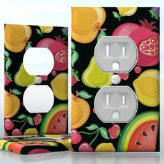 DIY Do It Yourself Home Decor - Easy to apply wall plate wraps | Tootie Fruity  Peach, pineapple, cherry, lemon and melon  wallplate skin sticker for 1 Gang Wall Socket Duplex Receptacle | On SALE now only $3.95 Do It Yourself Home, Light Switch Covers, Plates On Wall, Pineapple, Decals, Cherry, Lemon, Wraps, Peach