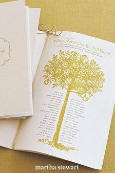 """Branch out beyond typical wedding programs by adding a touch of fun and whimsy to them. """"What Tree Did You Fall From?,"""" a Celtic version of astrology, is the perfect distraction for those awaiting the Wedding March. #weddingideas #wedding #marthstewartwedding #weddingplanning #weddingchecklist Diy Wedding Programs, Ceremony Programs, Felt Pouch, Glassine Envelopes, Letter To Yourself, Glue Dots, Letter Size Paper, Custom Stamps, Wedding Stationery"""